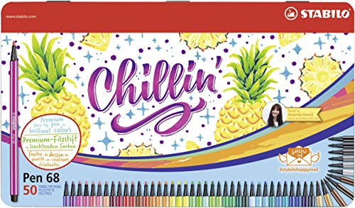 Stabilo Pen 68 Drawing Felt Tip Pens in Metal Box x 50 Assorted Colours by Stabilo (Image #6)