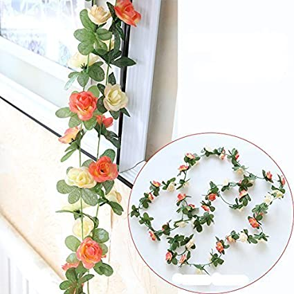 Blue /& White Miracliy 5 Pack 41 FT Fake Rose Vine Flowers Plants Artificial Flower Hanging Rose Ivy Home Hotel Office Wedding Party Garden Craft Art D/écor