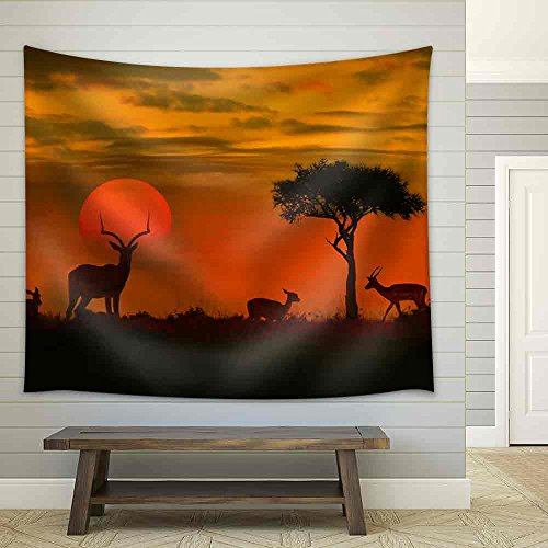 African Sunset with Silhouette of the Animals Fabric Wall