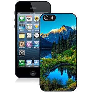 Beautiful Unique Designed iPhone 5S Phone Case With HDR Mountains Lake Forest_Black Phone Case