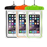 [3Pack] Universal Floatable Waterproof Cases Case Dry Bags Transparent Covers Color Submersible for Cellphones Under 5.8 Inch Bumper Case Fashion Design (3 Pack:Black+Orange+Green)