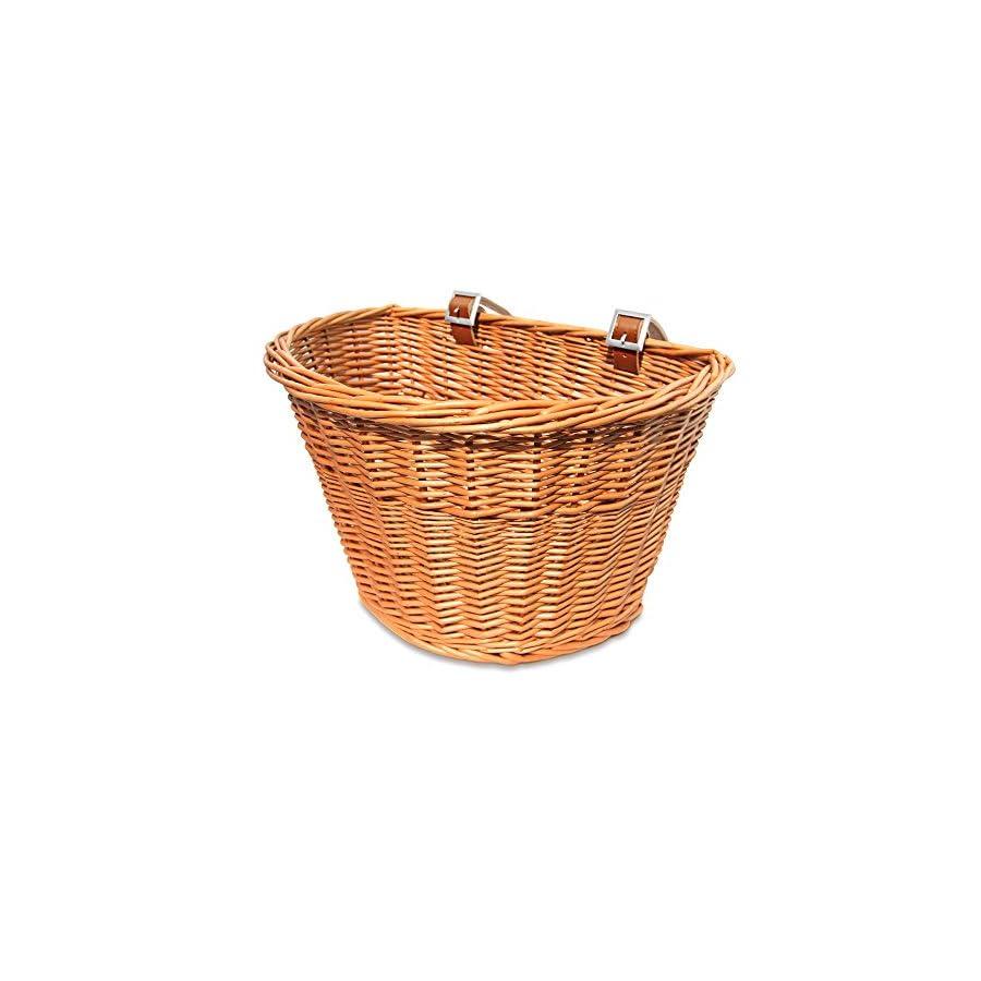 Colorbasket 01563 Adult Front Handlebar Wicker Bike Basket, Leather Straps, Natural Color