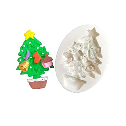 gspet potted christmas tree ornament diy silicone mold cake sugarcraft decorating tool white - Potted Christmas Tree