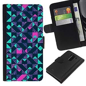 A-type (Polygon Blue Pink Purple Pattern) Colorida Impresión Funda Cuero Monedero Caja Bolsa Cubierta Caja Piel Card Slots Para LG G3