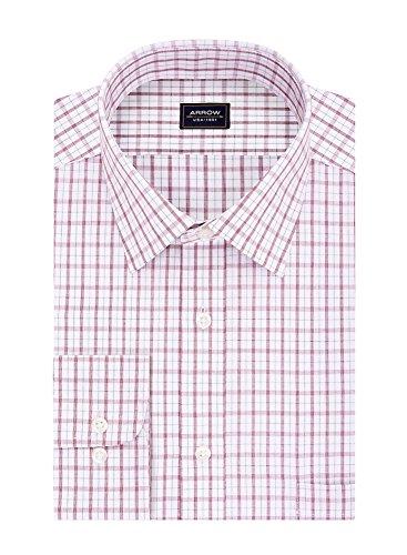 Arrow Men's Big&Tall Regular-Fit Plaid Poplin Wrinkle Free Dress Shirt, Berry
