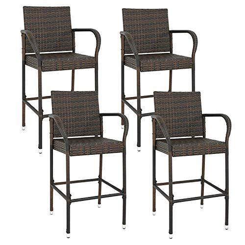 F2C Pack of 4 Brown Wicker Barstool All Weather Dining Chairs Outdoor Patio Furniture Bar Stools