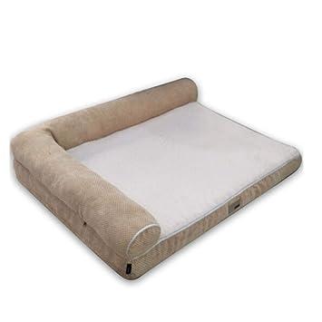 Huijunwenti Cama para perros, cachorros desmontables, almohadillas para perros de peluche dorado, camas