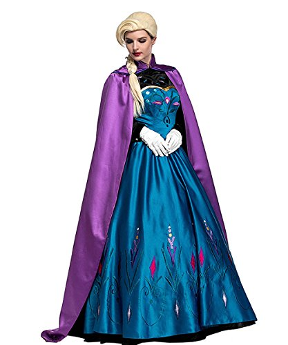 Cheap Princess Costumes For Adults (Women Deluxe Snow Princess Dress Snow Queen Costume,XL)