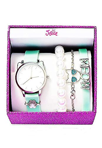 (Justice Mint Kitty Bracelet & Watch Set)
