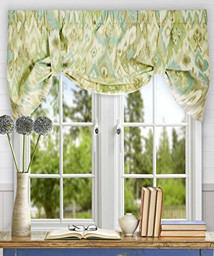 Tie Lined Valance Up - Ellis Curtain Terlina 50-by-21 Inch Lined Tie-Up Valance, Spa