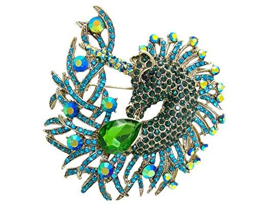 u Unicorn Horse Animal Rhinestone Crystal Pendant Brooch Pin (Green) ()