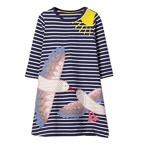 Girls Cotton Dress Stripe Long Sleeve Casual Cartoon Animal Print Applique Long Shirt For (Pure Cotton Applique)