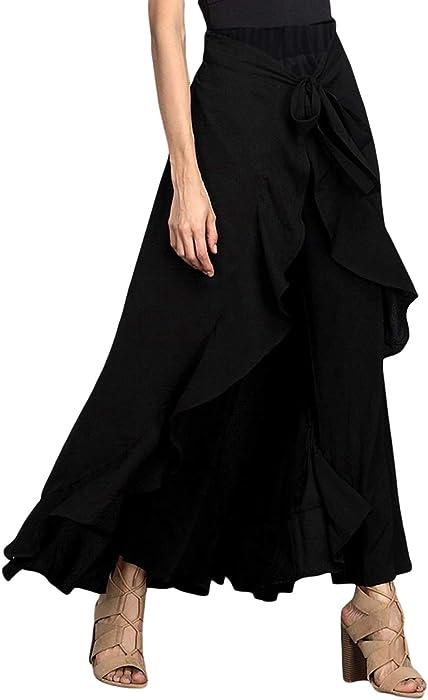 d2b65f490a33f MuCoo Women's Solid Ruffle Wide Leg High Waist Loose Palazzo Long Skirts  Pants Black S