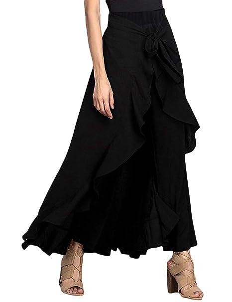 7600716413 MuCoo Women's Solid Ruffle Wide Leg High Waist Loose Palazzo Long Skirts  Pants Black S