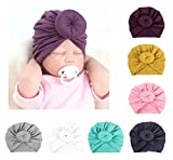 DANMY Baby Girl Hat with Rabbit Ears Toddlers Soft Turban Knot Bow Cap (7pcs (as Shown))