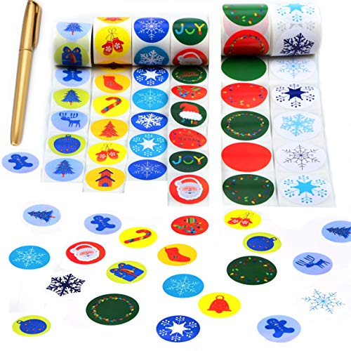 - Holiday Stickers Roll Assortment (900 Stickers) - stickers for kids - Christmas Stickers - 36 Designs - 2 Customized Design with FREE Pen - For Scrapbooking, Party Decorations, Holiday Christmas Cards
