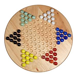 """Solid Wood 11.5"""" Chinese Checkers Set with Glass Marbles"""