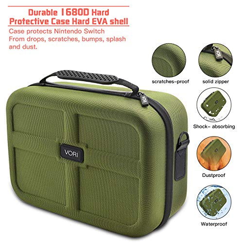 Carrying Case for Nintendo Switch, VORI Travel Games Storage Bag for Nintendo Switch Console & Accessories, Army Green