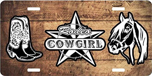 Western Rodeo Cowgirls Cowboys Horses Boots Personalized Novelty License Plates, Custom Decorative Front Car Tag for US Vehicles, 12 x 6 Inch -