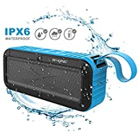 Aulker Portable Bluetooth Speakers Outdoor Wireless Speaker Bluetooth V4.0 FM Radio Waterproof Useful Small Size Home Docking Speaker Shower Supported IPX6 Water Resistant Dustproof Shockproof- Blue