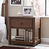 Serta Langston Nightstand with Drawer and Shelf, Rustic Oak