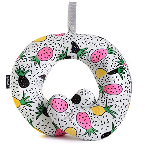 BCOZZY Kids Chin Supporting Travel Neck Pillow - Supports The Head, Neck & Chin. A Patented Product. Child Size, Trendy Pineapple