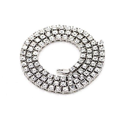 Zealmer Shoopic Men Cuban Link Hip Hop Iced Out 1 Row Diamond Crystal Silver Tennis Chain Necklace 20 - Design Diamond Link