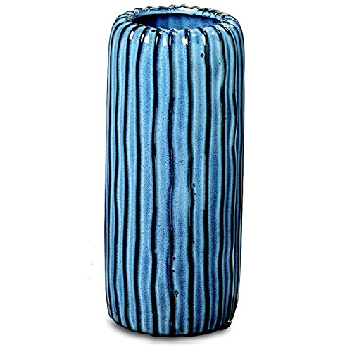 The Indigo Vertical Vase, Artisan Crafted, Hand Glazed, Shades of Blue, Porcelain, Rustic Modern Style, 4 Diameter x 9½ Inches Tall, By (Blue Porcelain Bouquet)