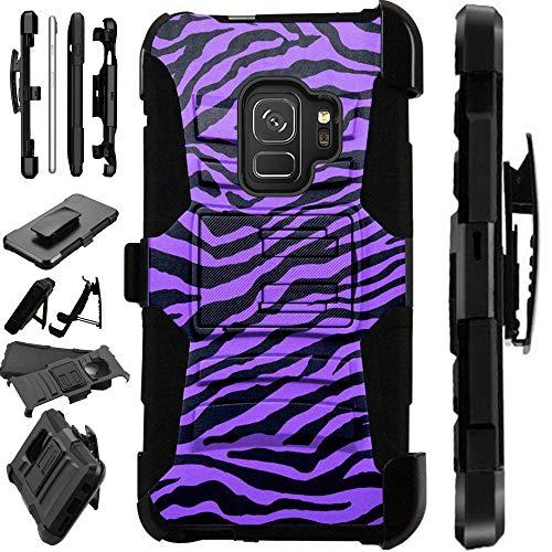 Compatible Samsung Galaxy A6 (2018) Case Armor Hybrid Phone Cover LuxGuard Holster (Purple Zebra Skin)