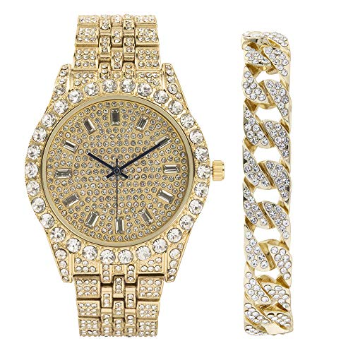 Mens Watch w/Iced Look Cuban Bracelet Rolly Hip Hop Gold Tone Look - Big Rhinestones on Trim and Elegant Baquette Time Indicators on Dial - Master Bling Designer - ST10226B Cuban Gold