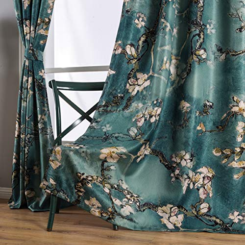 urtain 84 Inches Long for Bedroom,Thermal Insulated Faux Linen Fashion Blackout Curtain,Elegant Window Blackout Curtain 1 Panel Set,Ring Top Style Print Drapes ()