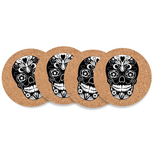 Party Partners DM30001 4 Count Cork Coasters, Day Of The Dead -