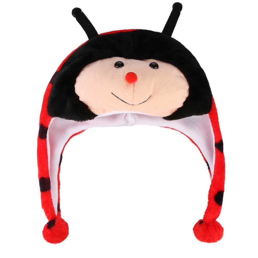 GEMVIE Girls Boys Winter Plush Cartoon Earflaps Hat Novelty Furry Faux Animal Beanie Hat with Earmuffs