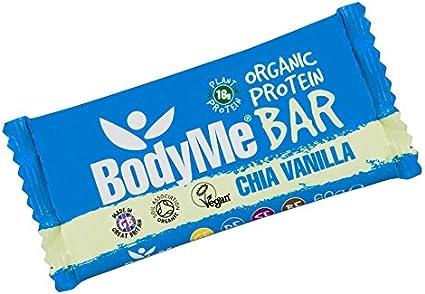 BodyMe Barra de Proteína Vegana Orgánica | Cruda Chia Vainilla | 60g | Con 3 Proteínas Vegetales