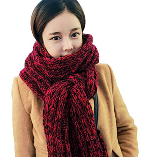 Ladies Mohair Knit Scarf (Winter Womens Mens Warm Thicken Knit Woolen Scarves Long Crochet Mohair Scarf)