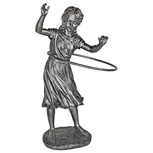 Hula Hooping Girl Garden Statue