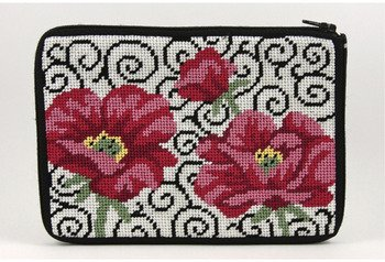 oint Purse/Cosmetic Case Kit-SZ575 Poppies on Scroll (Cottage Needlepoint)