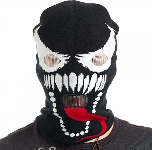 BIOWORLD Marvel Spider-man Venom Knit Ski Mask (Mens Black Spiderman Costume)