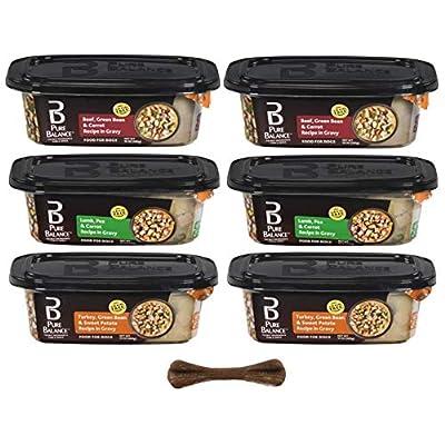 Pure Balance Grain Free Adult Dog Wet Food in Gravy- 3 Flavor Bundle, 10 Oz Each - Pack of 6 - Plus Dog Bone & Eco Friendly Poop Bags (8 Items Total)