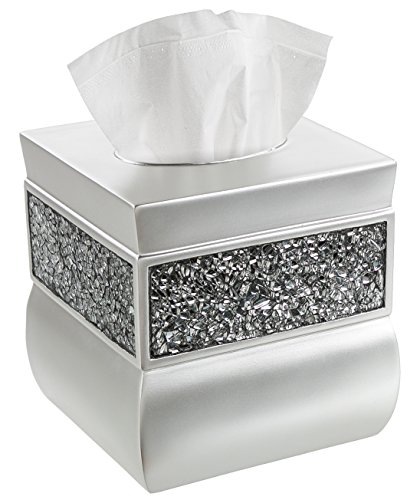 Creative Scents Square Tissue Box Cover - Decorative Tissue Holder is Finished in Beautiful Silver Colored Mosaic Glass, Bathroom Accessories (Luxury Box Soap)