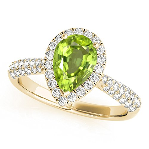 1.55 Ct. Ttw Diamond and Pear Shaped Peridot Ring in 10K Yellow Gold