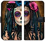 Luxlady Samsung Galaxy S8 Flip Fabric Wallet Case ID: 44522015 3D Computer Graphics of a Young Woman with Sugar Skull Makeup