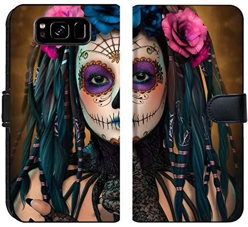Luxlady Samsung Galaxy S8 Flip Fabric Wallet Case ID: 44522015 3D Computer Graphics of a Young Woman with Sugar Skull Makeup by Luxlady