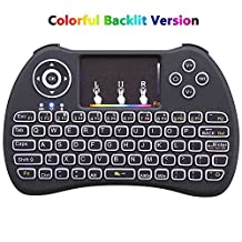 Mini Wireless Keyboard,Air Remote Mouse Backlit Portable Mini Keyboard with Touchpad Mouse 2.4GHz Rechargable Li-ion Battery for Android TV Box,XBox 360,PS3,PC,HTPC,IPTV Pendoo