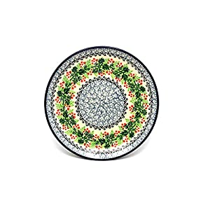 Polish Pottery Plate – Salad/Dessert (7 3/4″) – Holly Berry