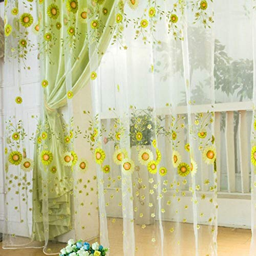 Curtains - Home Textile Pastoral Sunflower Tulle Voile Window Curtain Drape Panel Sheer Scarfs Valances 1pcs - Silk Scarf Yellow Girl Square Large Women Window Yarn (Textiles Rk)