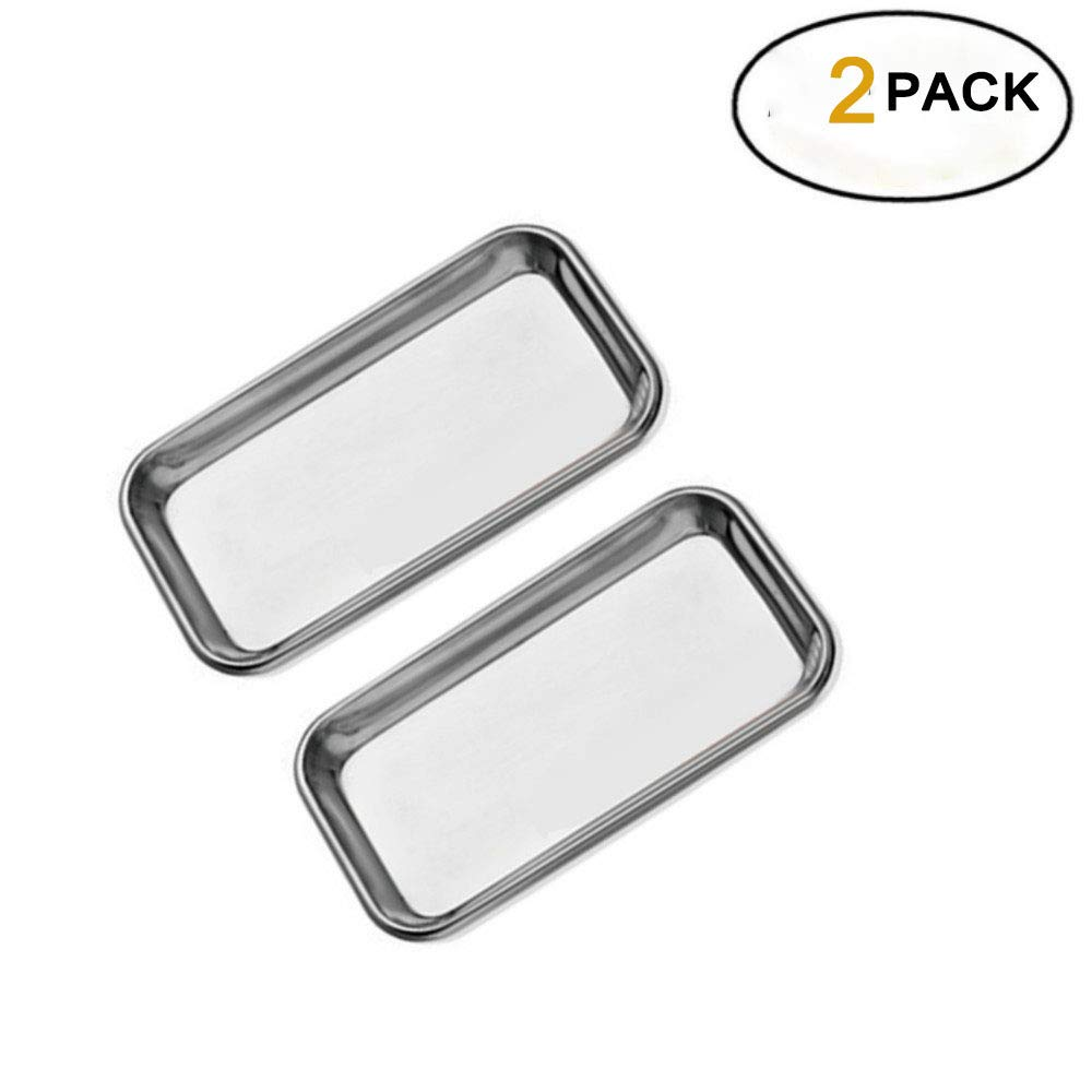 2 Pack Medical Stainless Steel Instrument Tray Lab Instrument Dental Tool by Vinmax by vinmax
