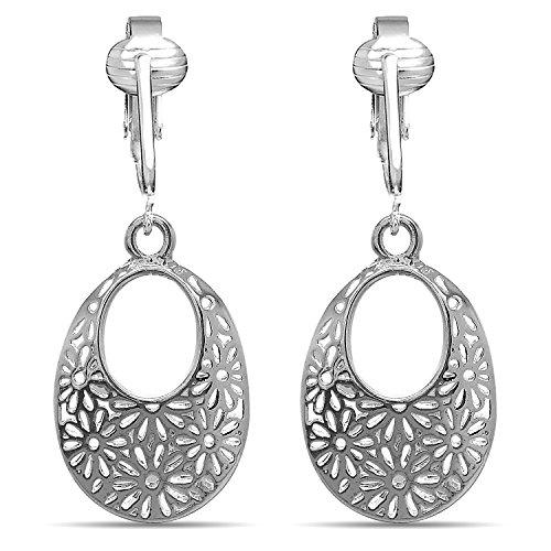 (Womens Clip Earrings Silver, Silver Earrings Clip On for Women, Girls, Lightweight Silver Clip Earrings (Silver Daisy Oval Hoops))
