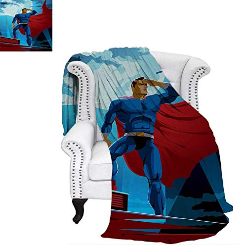 Oversized Travel Throw Cover Blanket Retro Cartoon Character Hero Saving People from Evil Strong Muscular Man with Cape Super Soft Lightweight Blanket 70