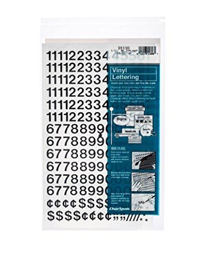 Chartpak Self-Adhesive Vinyl Numbers, 1/2 Inch High, Black, 210 per Pack (01110)